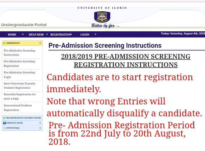 UNILORIN POST UTME 2018/2019 REGISTRATION EXTENDED TILL 20TH OF AUGUST